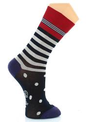 chaussettes-homme-rayures-et-pois-marine-ecru-raisin