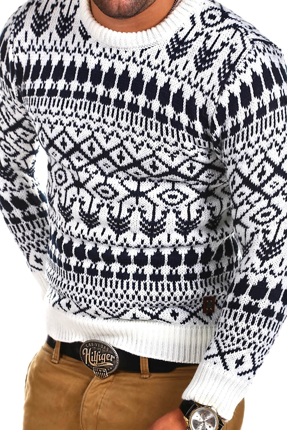 pull-homme-motif-jacquard-col-rond-laine